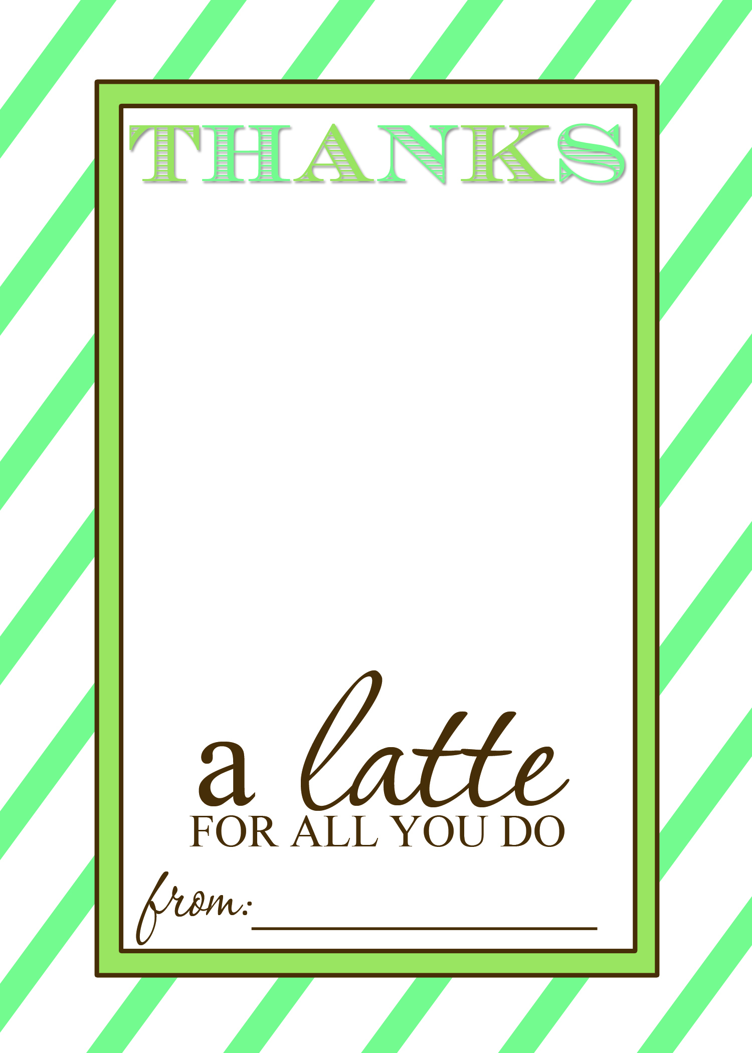 "Thanks A ""latte"" Teacher Appreciation Gift Idea With Free Printable - Thanks A Latte Free Printable Card"