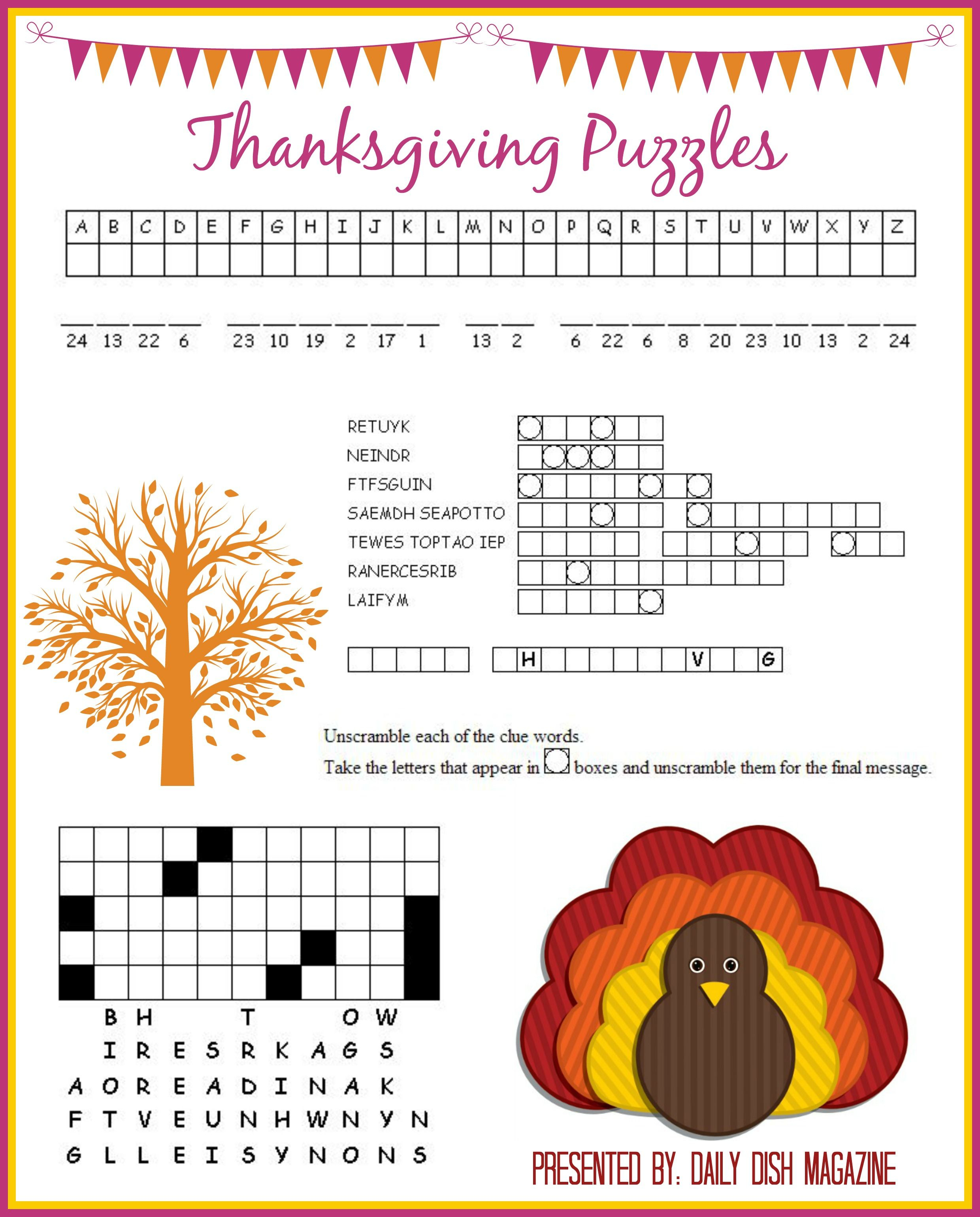 Thanksgiving Puzzles Printables   *holidays We Celebrate - Thanksgiving Crossword Puzzles Printable Free