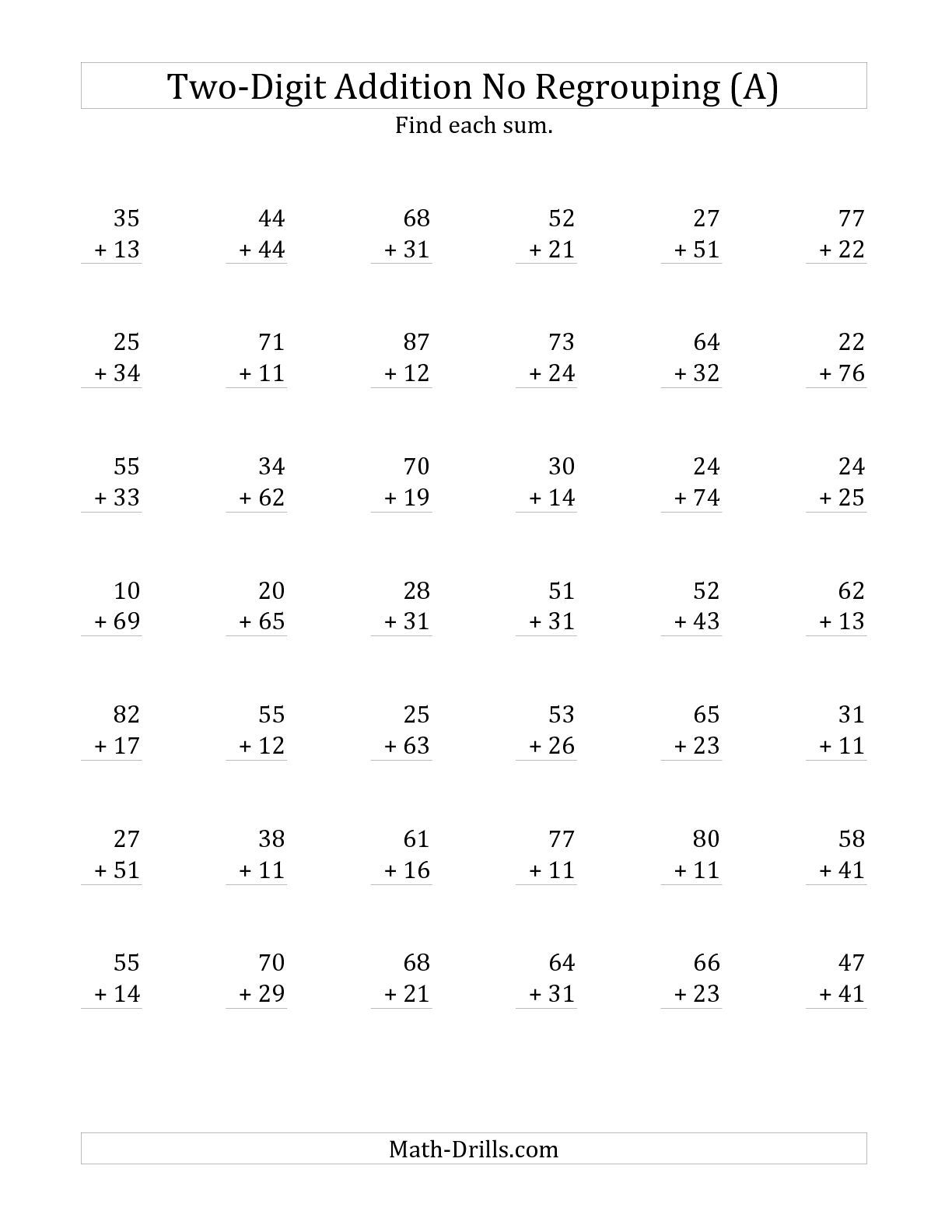 The 2-Digit Addition With No Regrouping (A) Math Worksheet From The - Free Printable Two Digit Addition Worksheets