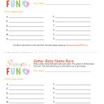 The Baby Name Race Baby Shower Game   Baby Name Race Free Printable