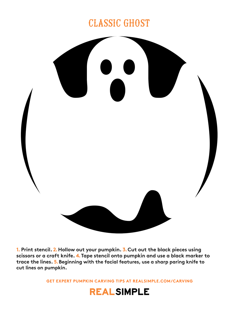 The Best Ghost Pumpkin Designs   Real Simple - Free Printable Pumpkin Carving Templates Dog