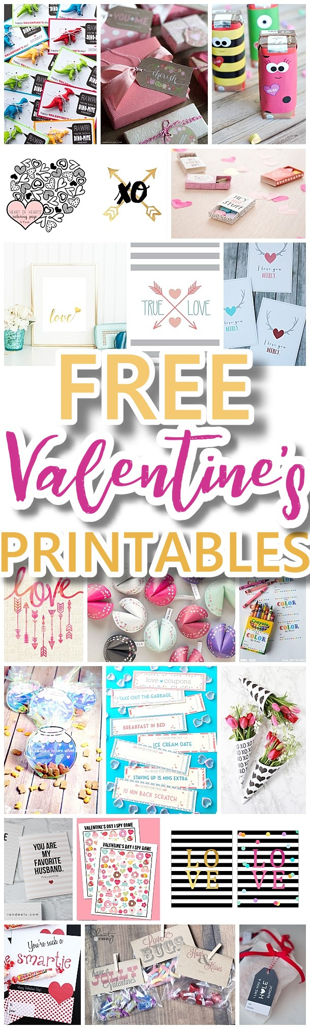 The Best Valentine's Day Free Printables – Kids Classmate Cards - Free Printable Valentine's Day Decorations