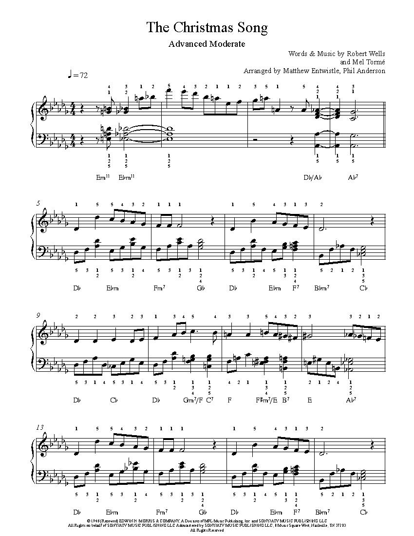 The Christmas Songnat King Cole Piano Sheet Music | Advanced Level - Christmas Songs Piano Sheet Music Free Printable