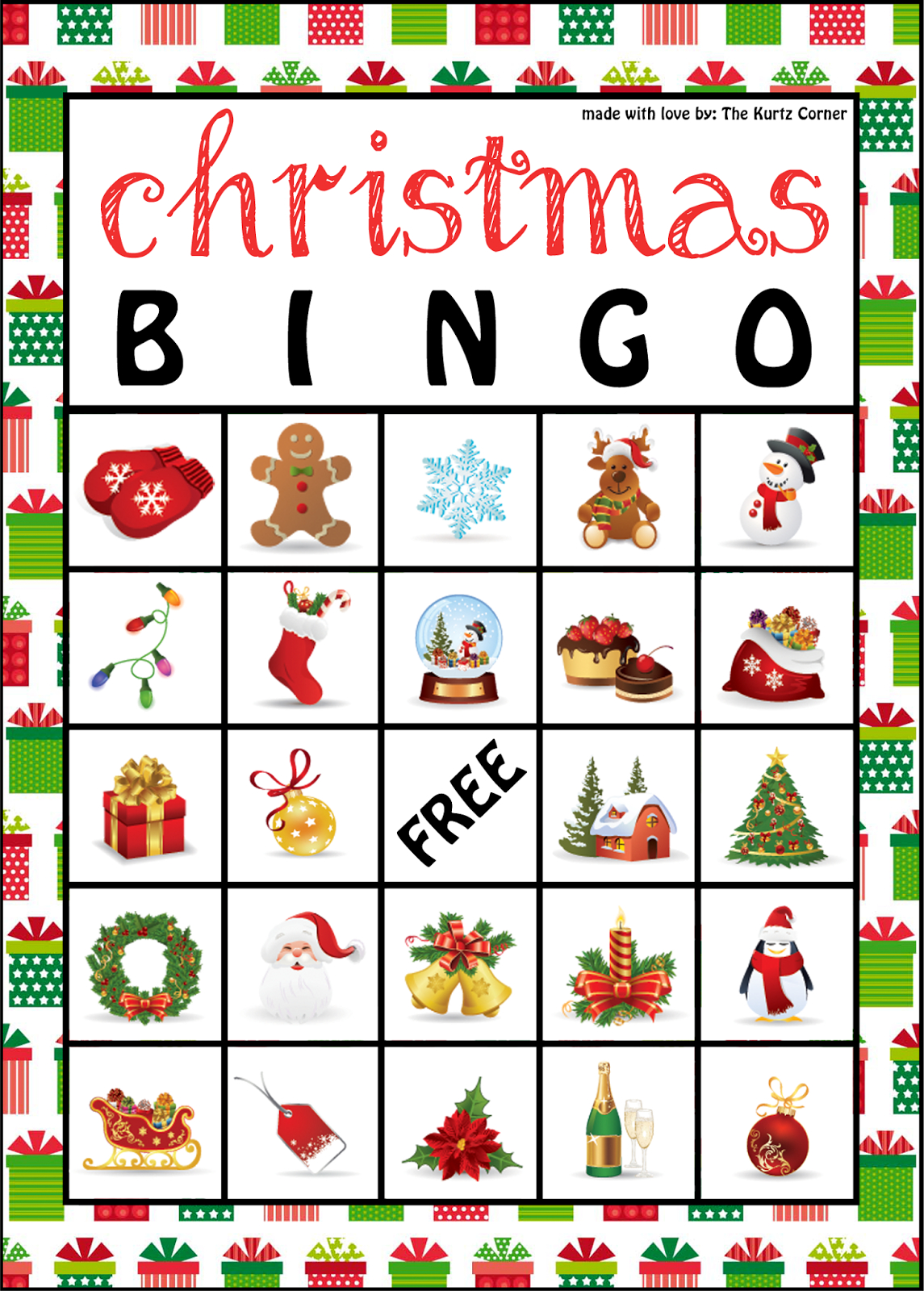 The Kurtz Corner: Free Printable Christmas Bingo Cards | Winter / X - Free Printable Bingo Cards 1 100