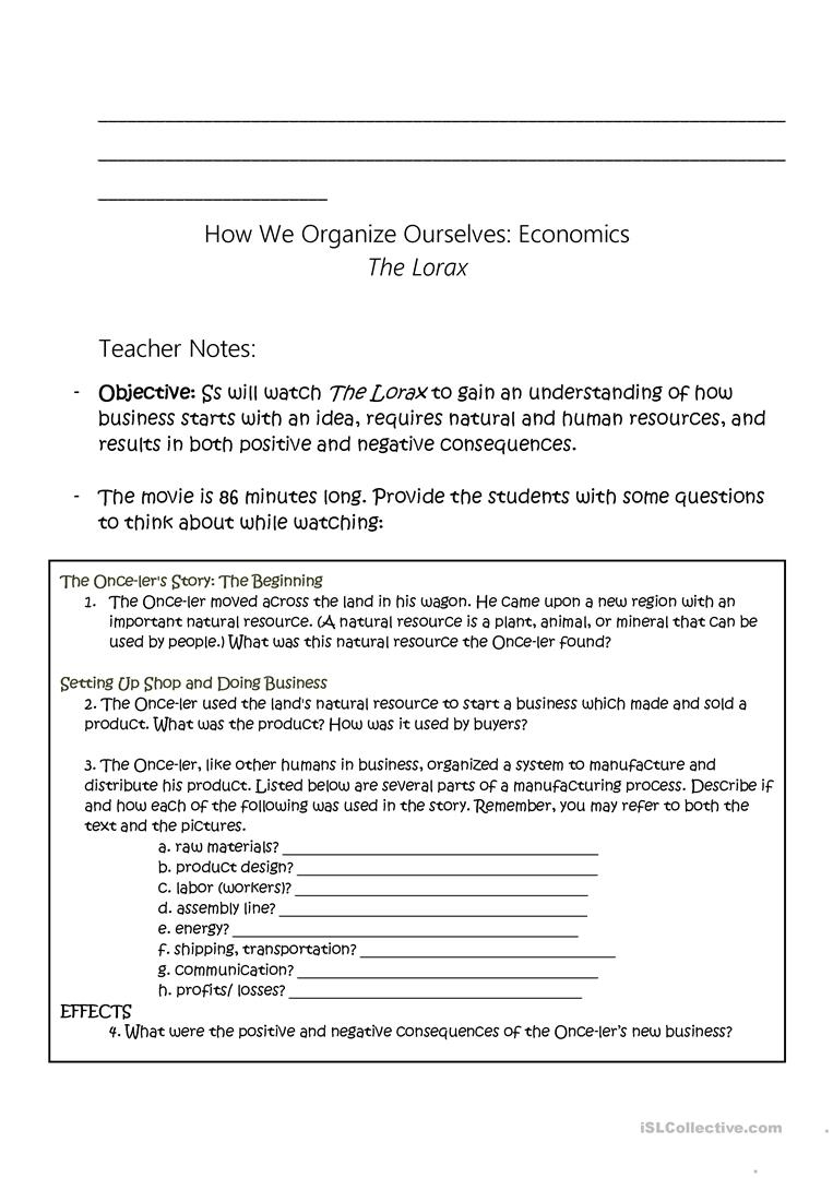 The Lorax - Economic Study Worksheet - Free Esl Printable Worksheets - Free Printable Economics Worksheets