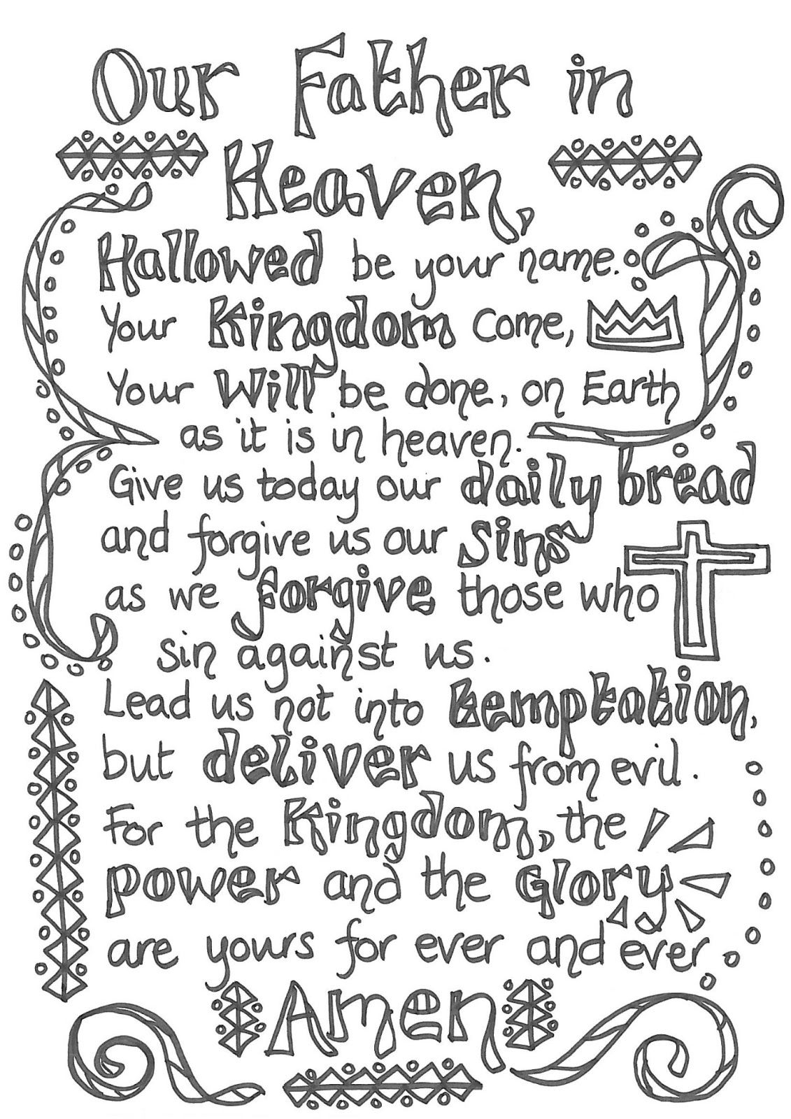 The Lord's Prayer For Children Printable | The Lord S Prayer - Free Printable Lord's Prayer Coloring Pages