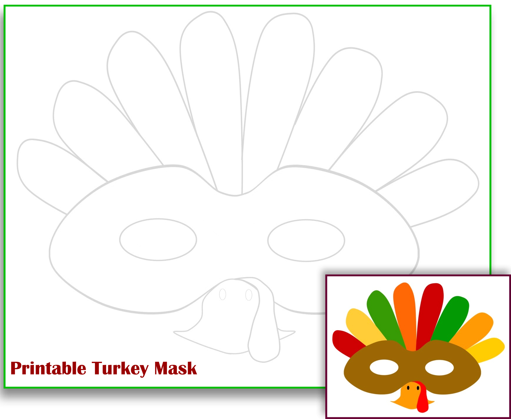 The Mama Zone Free Printable Turkey Mask Free Printable Turkey - Free Printable Turkey