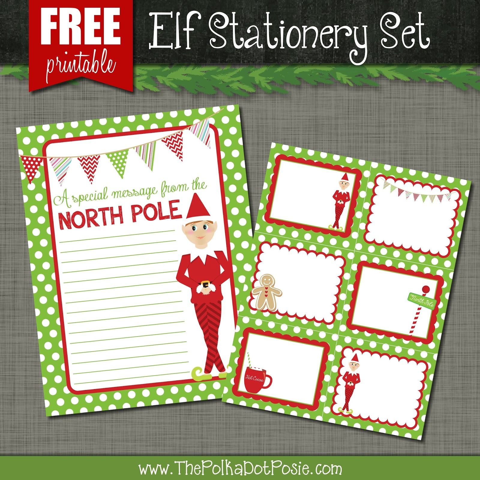 The Polka Dot Posie: Free Printables For Your Christmas Elf - Free Printable Elf Stationery