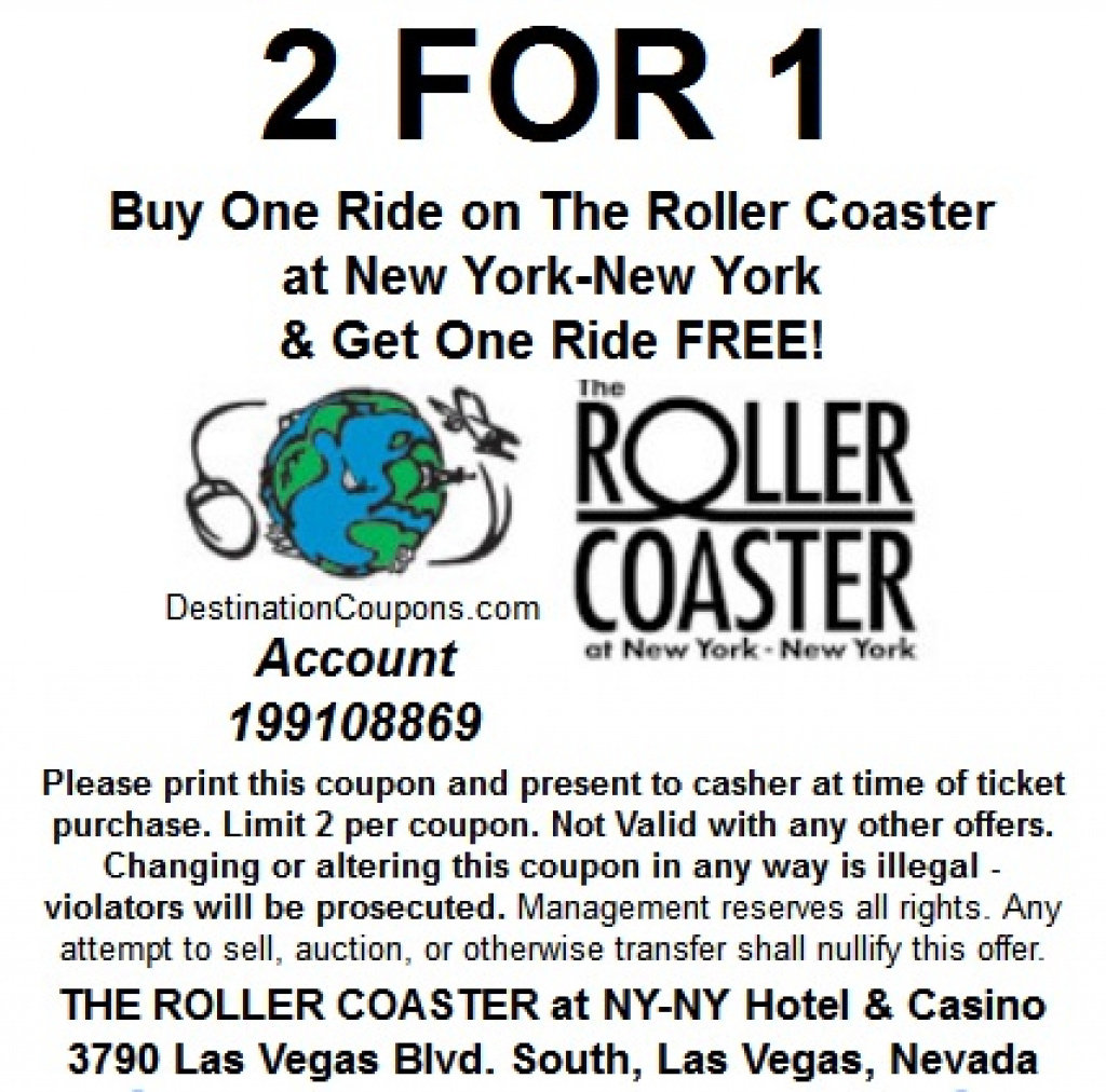 The Roller Coaster At New York New York: Two For One Coupon - Just - Free Printable Las Vegas Coupons 2014
