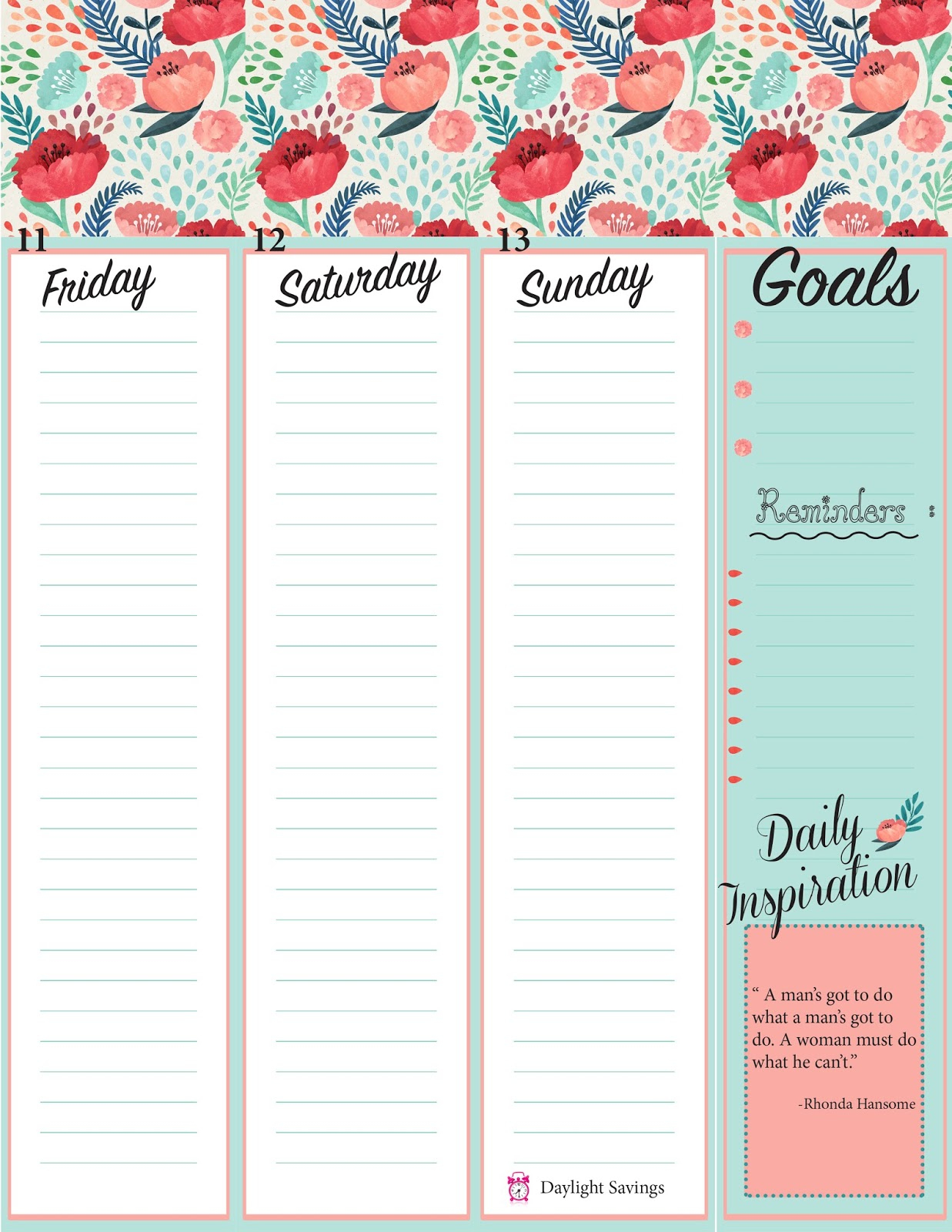 The Rustic Redhead: Weekly Planner Sheets ** Free Printables** - Free Cute Printable Planner 2017