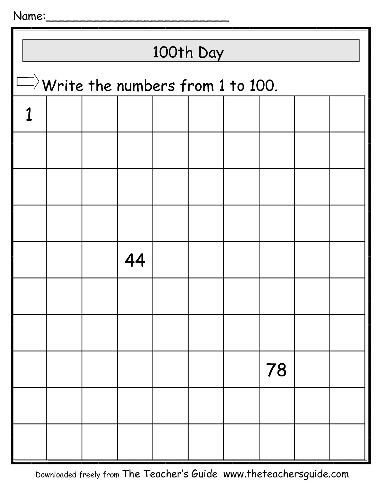 The Teacher's Guide 100Th Day Of School Theme Page - Free Printable Number Of The Day Worksheets