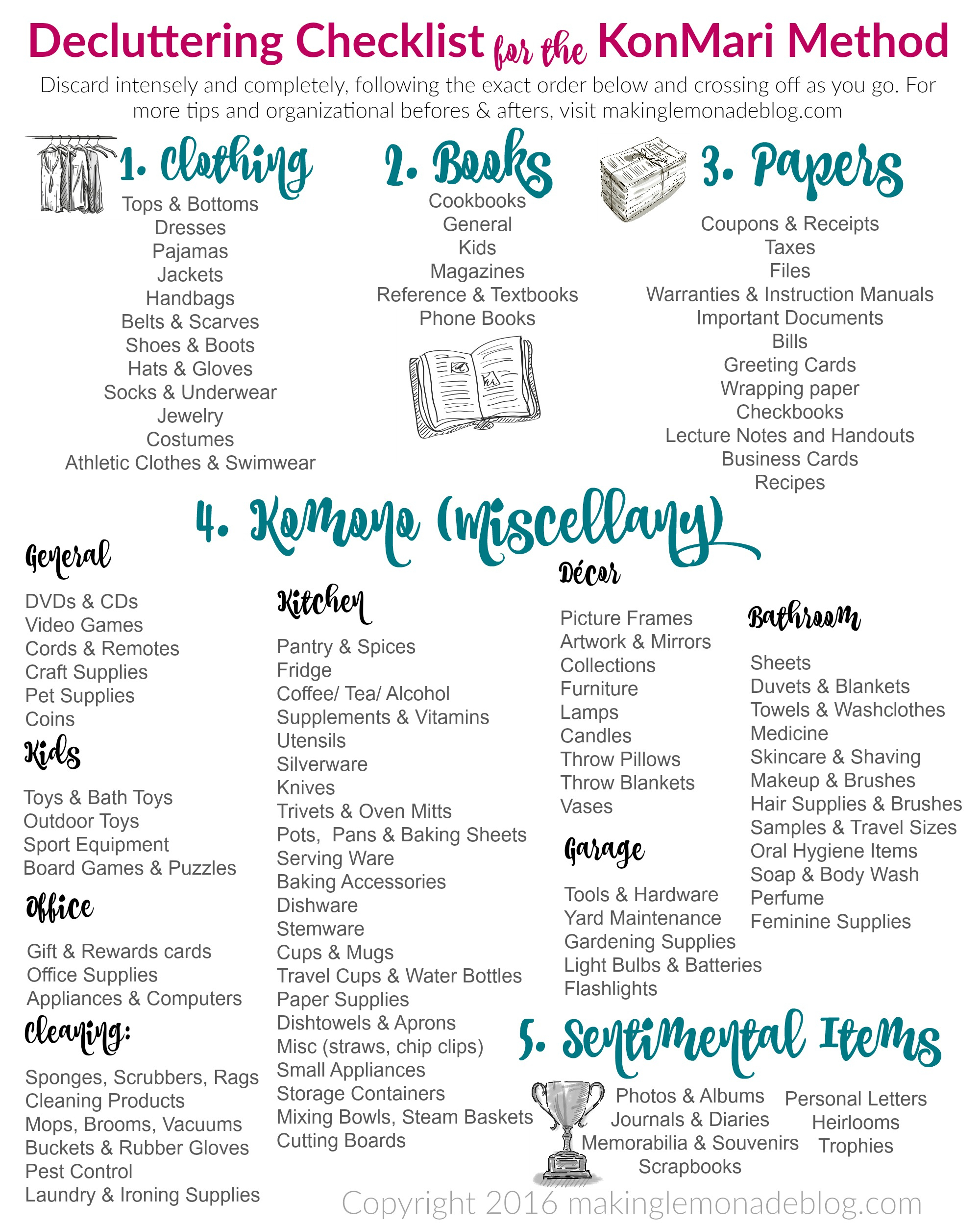 The Ultimate Free Printable Decluttering Checklist For Konmari Success! - Free Printable Textbooks