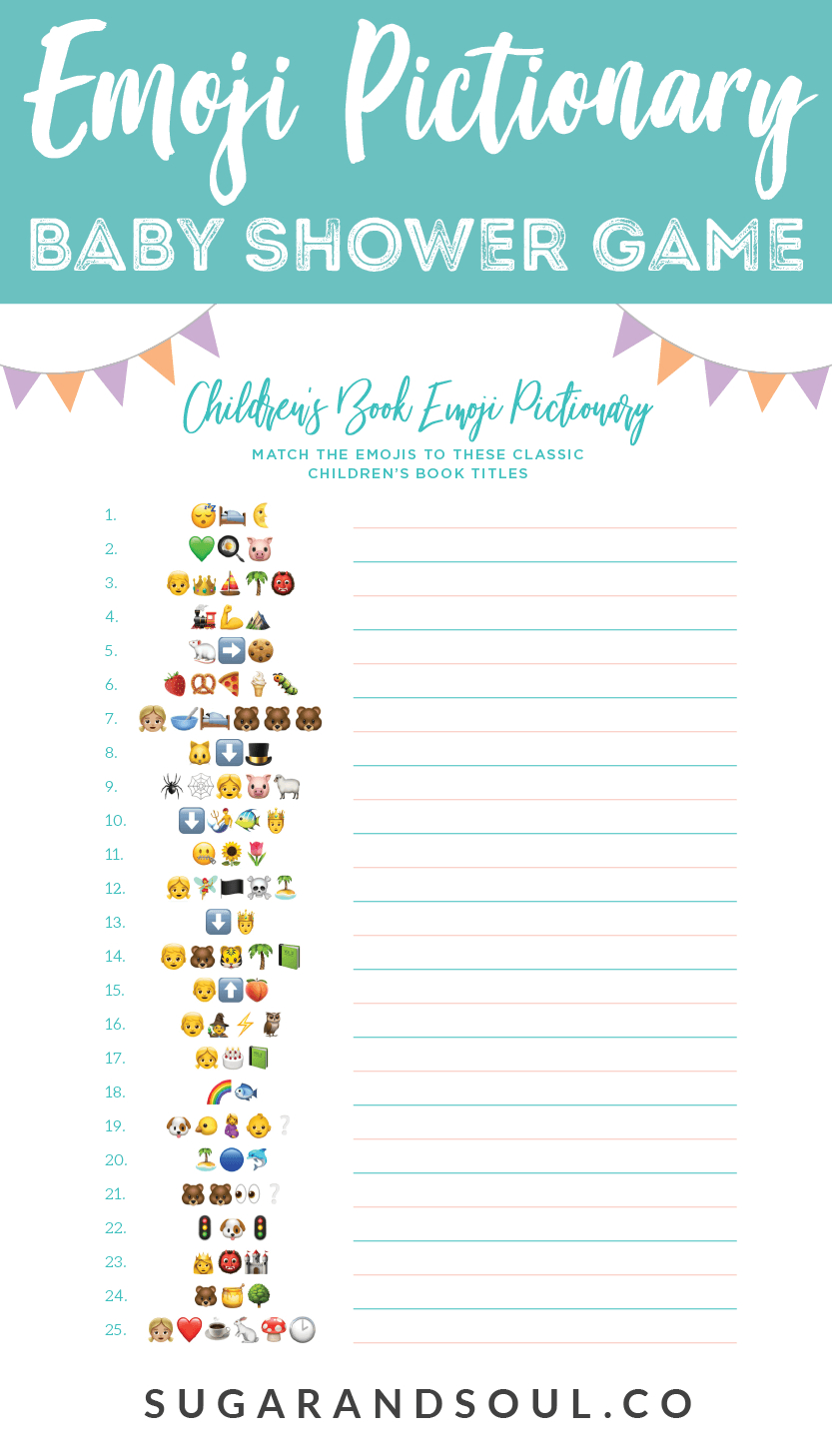 This Free Emoji Pictionary Baby Shower Game Printable Uses Emoji - Baby Invitations Printable Free