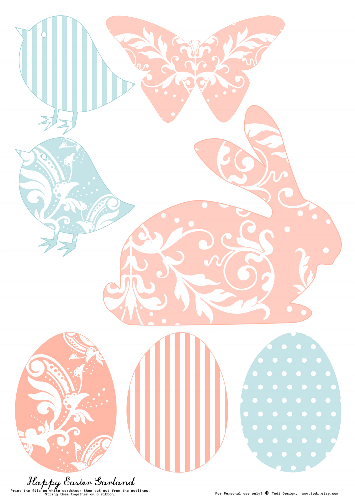 Todi: Free Printables For Easter Decoration. Th Print Used For This - Free Printable Easter Bunting