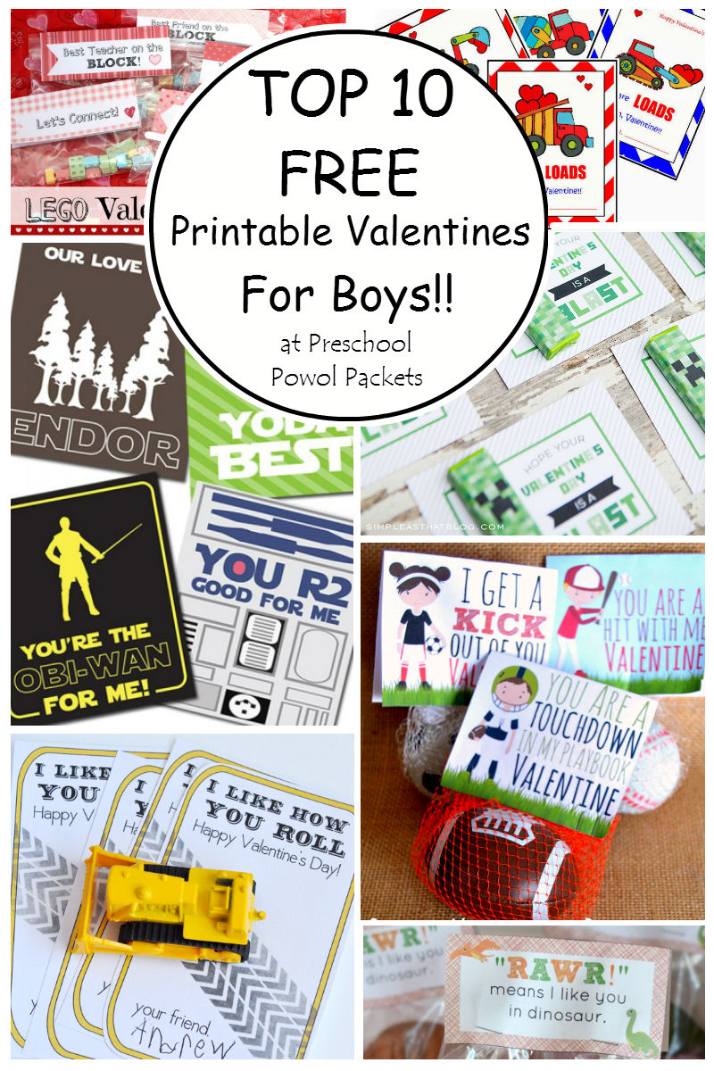 Top 10 {Free} Printable Valentines Cards For Boys! | Preschool Powol - Free Printable Valentine Cards For Preschoolers