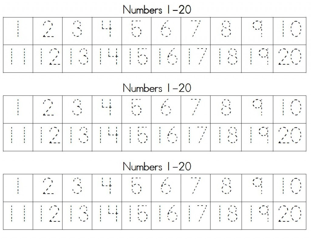 Trace Numbers 1 20 | Kiddo Shelter - Free Printable Tracing Numbers 1 20 Worksheets