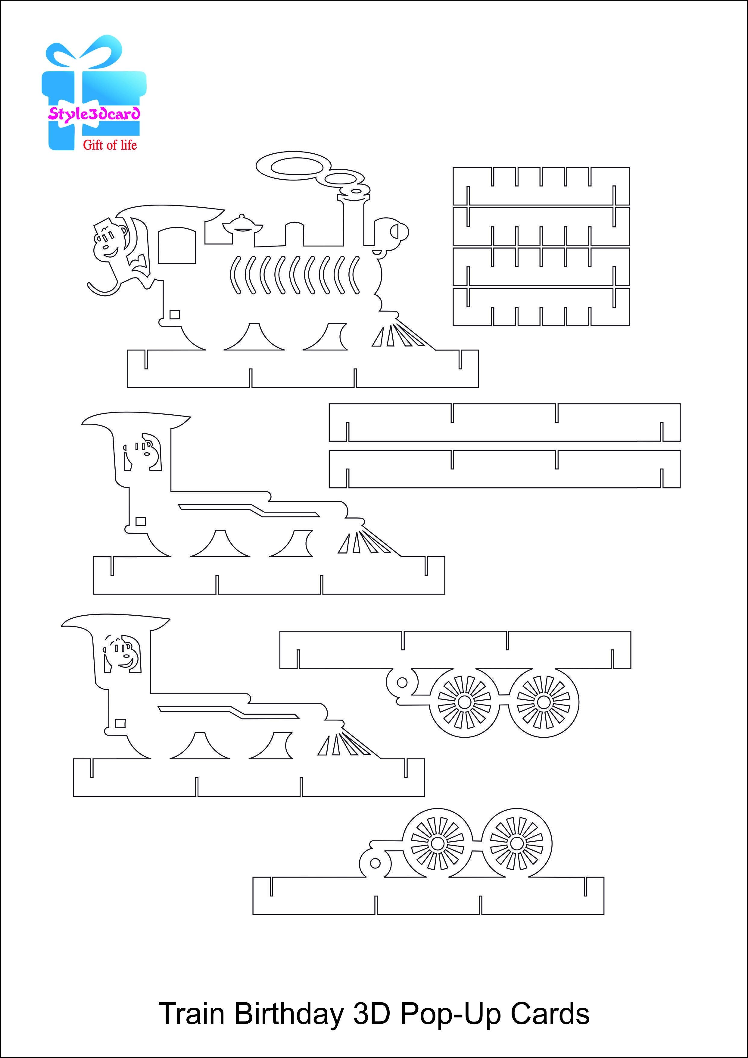 Train Pop Up Birthday Card/kirigami Pattern 2 | Card- Techniques And - Free Printable Kirigami Pop Up Card Patterns