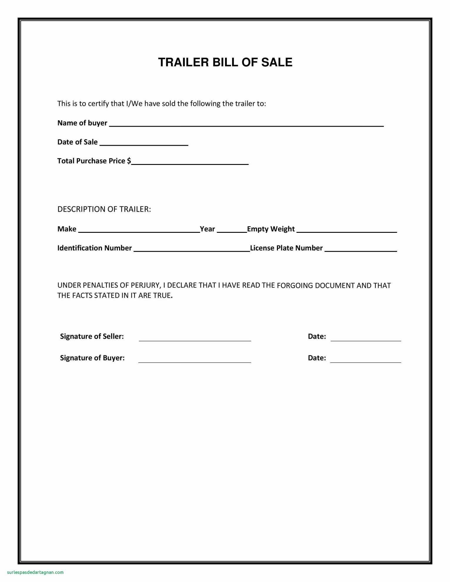 Truck Bill Of Sale Form Template With Free Motor Vehicle Bill Sale - Free Printable Bill Of Sale For Car