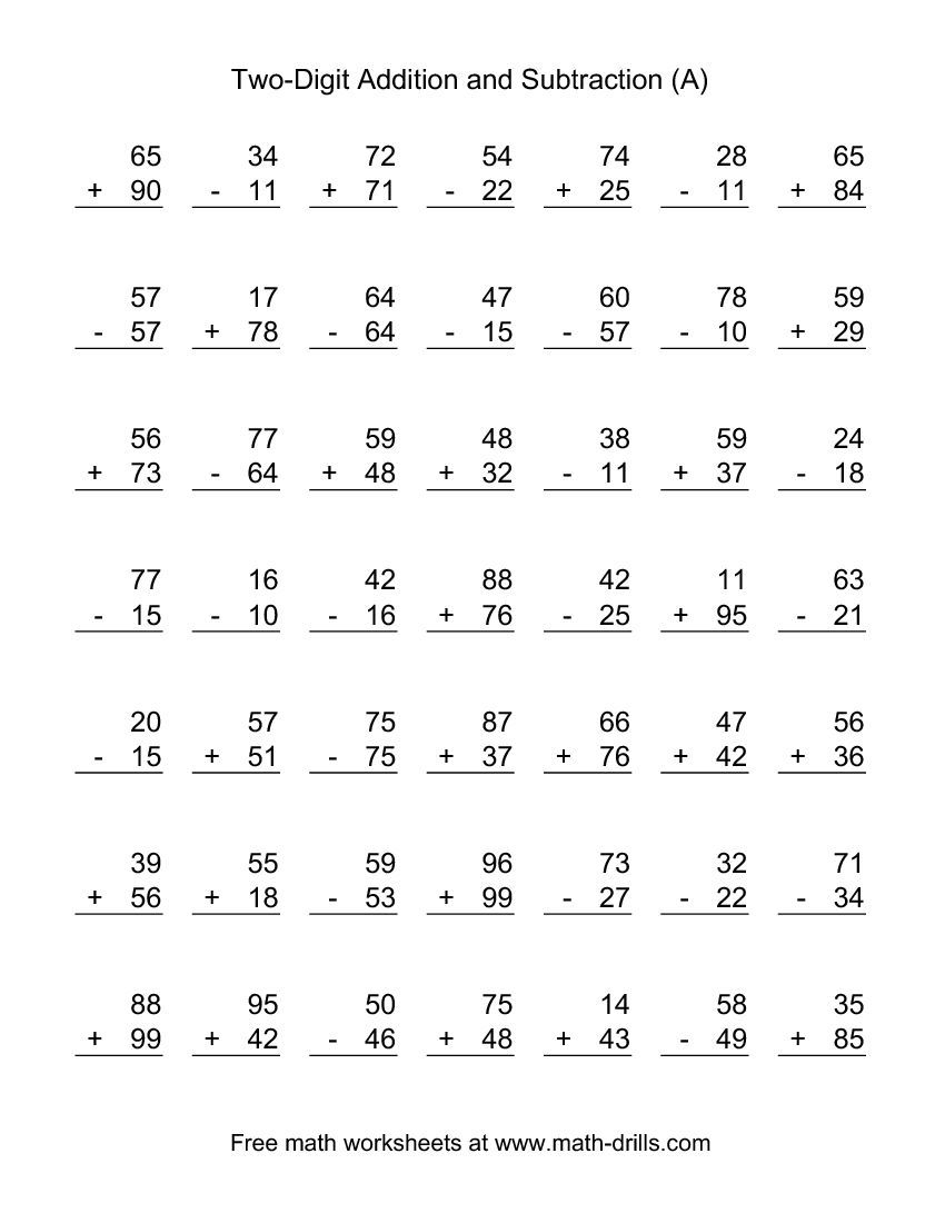 Two-Digit (A) Combined Addition And Subtraction Worksheet | Per Ty - Free Printable Double Digit Addition And Subtraction Worksheets
