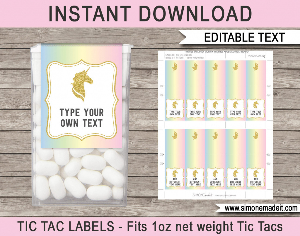 Unicorn Theme Party Favors Printable Tic Tac Labels | Etsy - Free Printable Tic Tac Labels