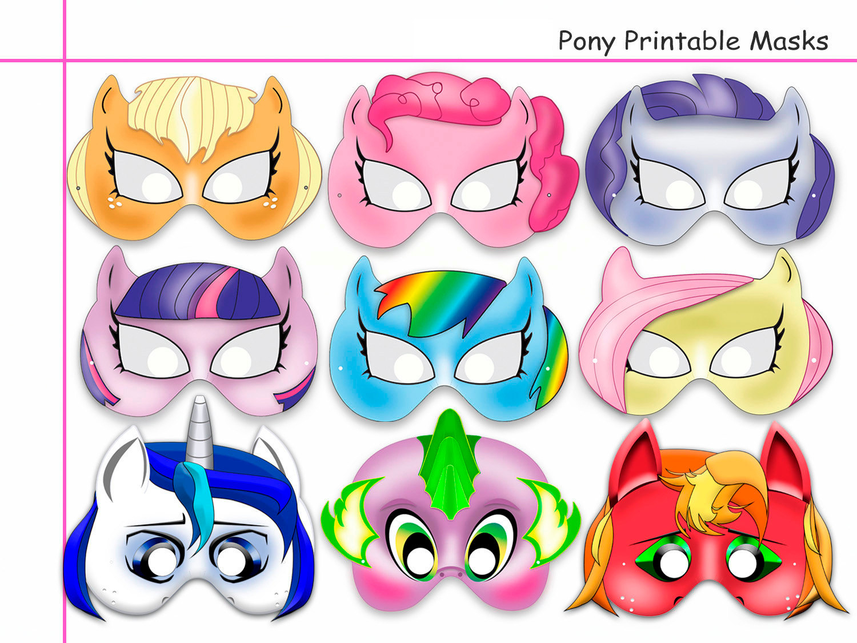 Unique Pony Printable Masks, Party Mask,   Holidaypartystar - Free My Little Pony Printable Masks