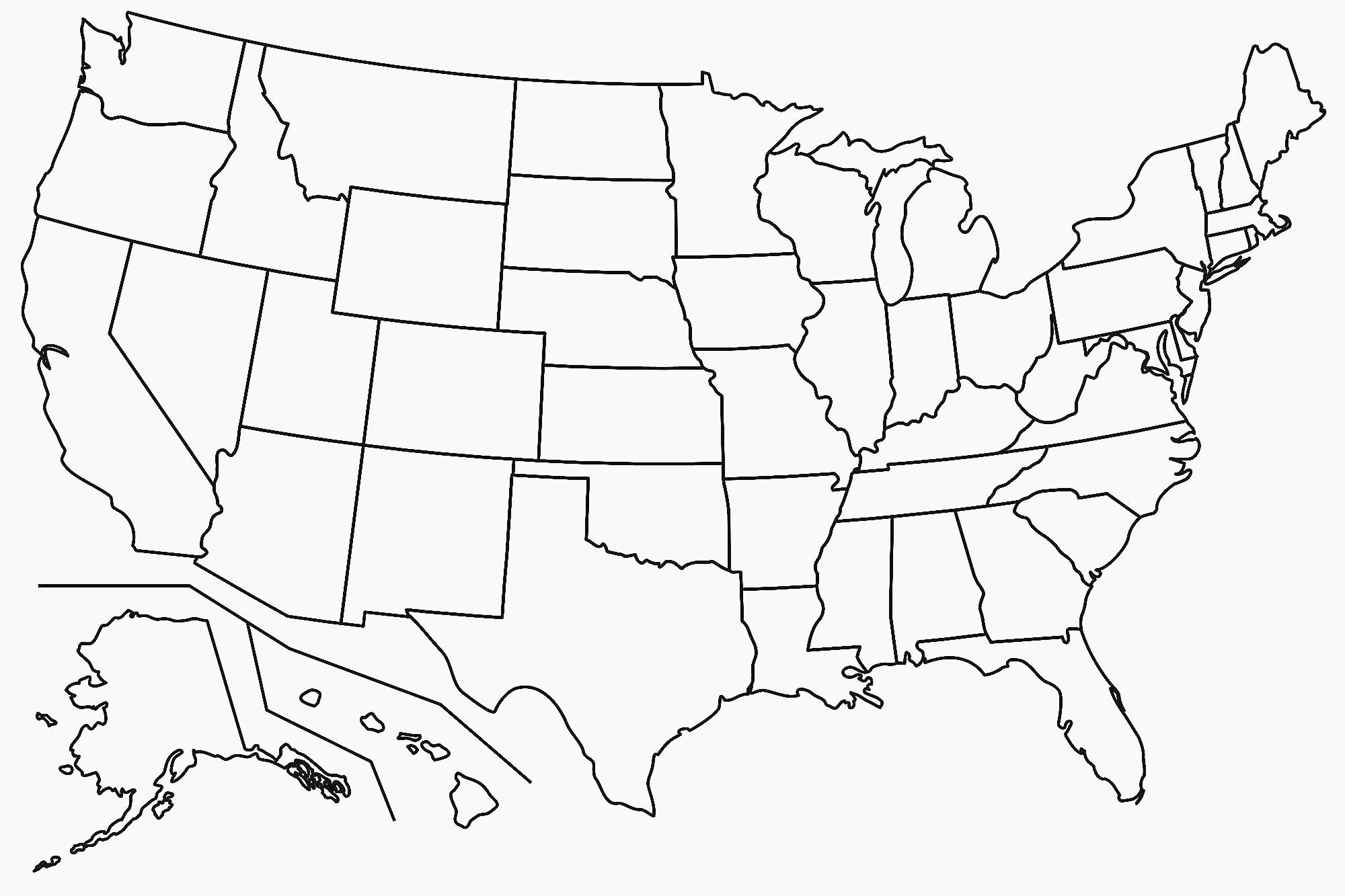 United States Map Blank Template Fresh Map Usa States Free Printable - Free Printable Usa Map