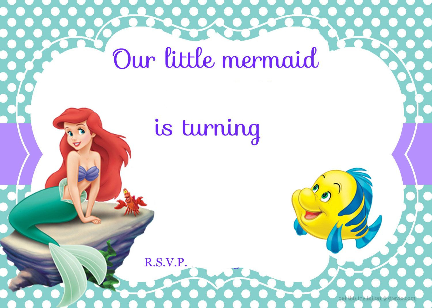 Updated! Free Printable Ariel The Little Mermaid Invitation - Free Printable Little Mermaid Birthday Banner