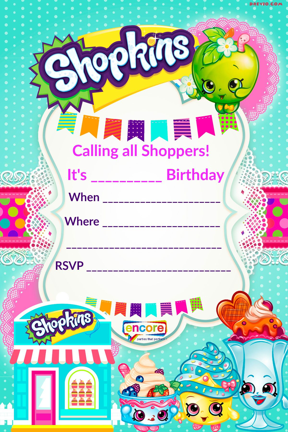 Updated – Free Printable Shopkins Birthday Invitation Template - Free Printable Shopkins Thank You Cards