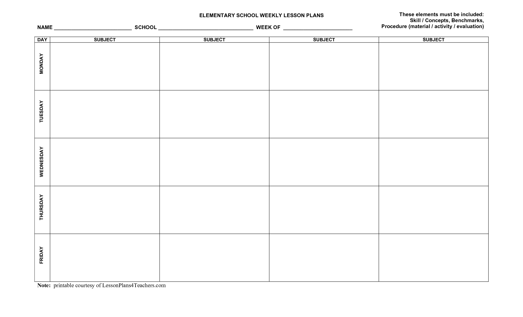 Use This Blank 8-Part Lesson Plan Template Every Time That You Need - Free Printable Lesson Plan Template