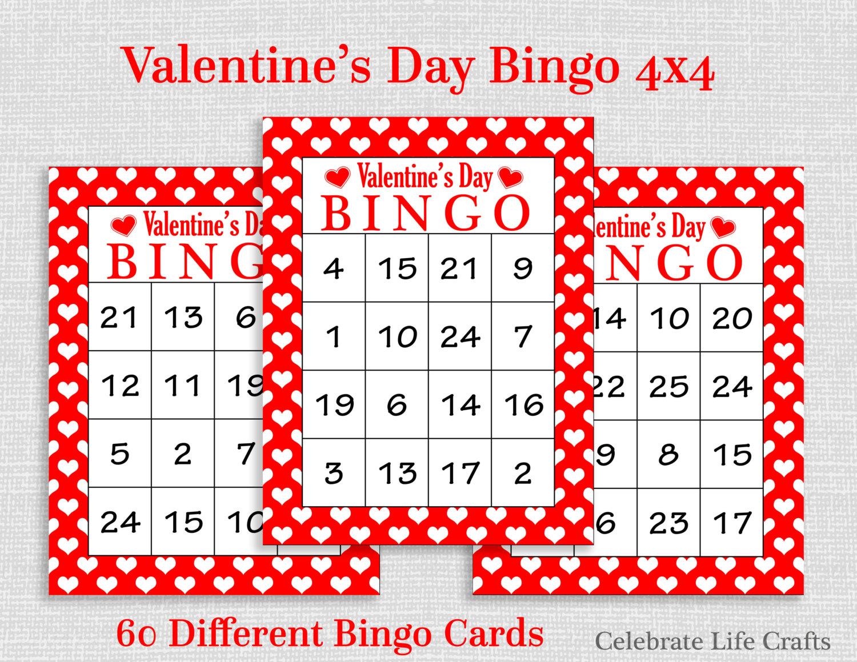 Valentine Bingo Game 60 Printable Valentine's Bingo | Etsy - Free Printable Valentines Bingo