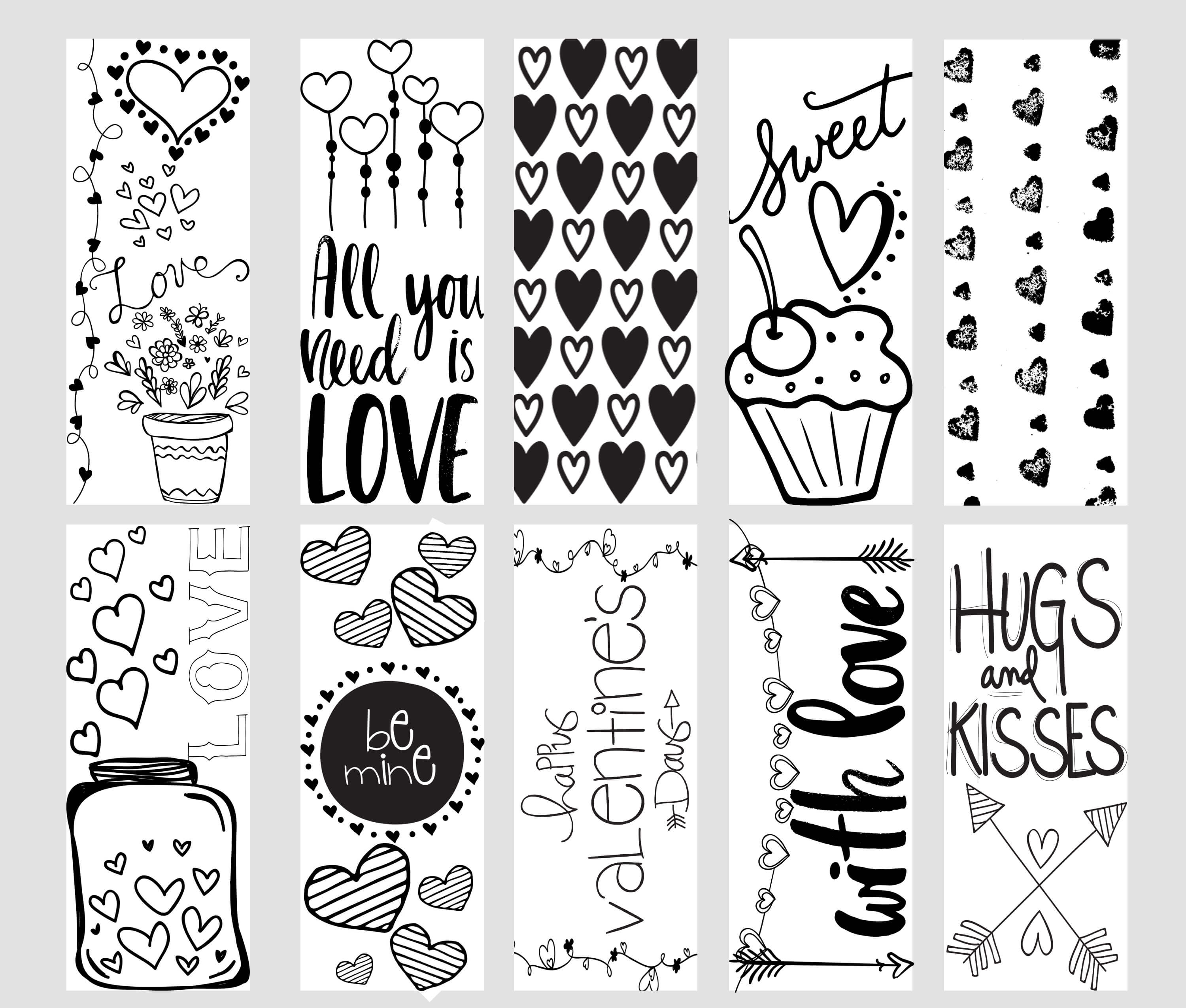 Valentine Printable Coloring Page Bookmarks - Free Printable Valentine Bookmarks