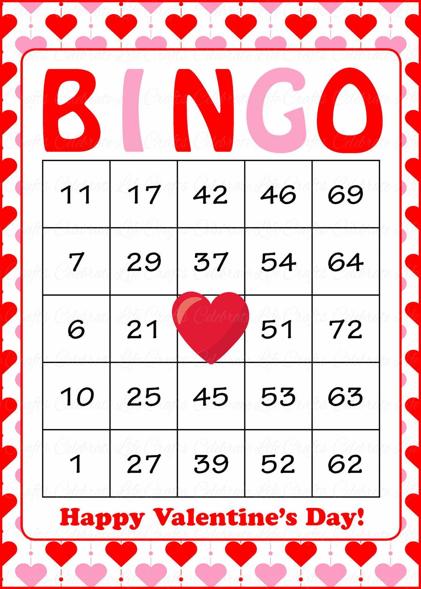 Valentine's Bingo Cards - Printable Download - Prefilled - Free Printable Bingo Cards Random Numbers