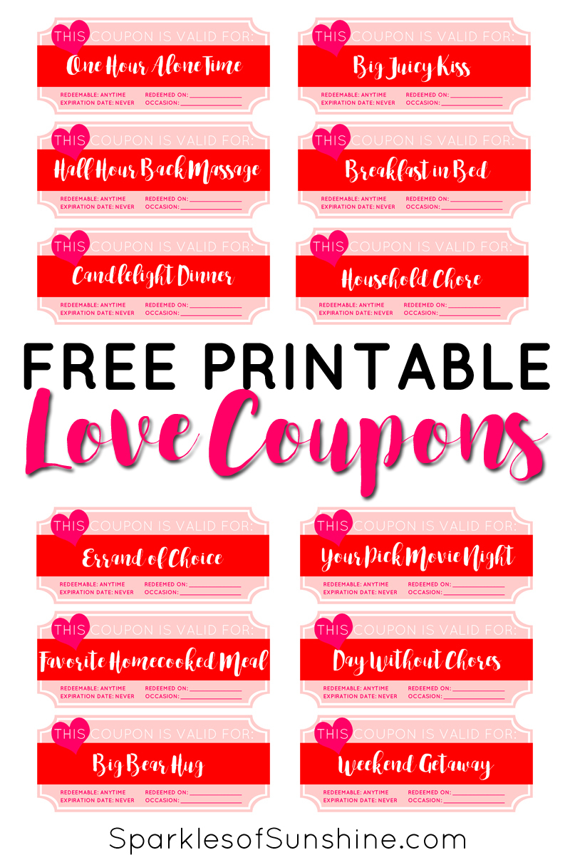 Valentine's Day Free Printable Love Coupons - Sparkles Of Sunshine - Free Printable Love Coupons For Wife