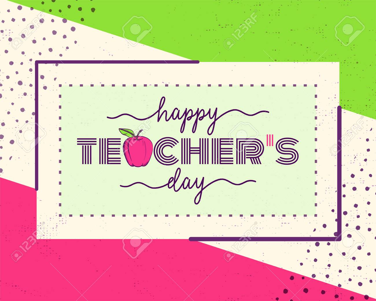 Vector Illustration Of Happy Teachers Day. Greeting Design For - Free Printable Teacher's Day Greeting Cards
