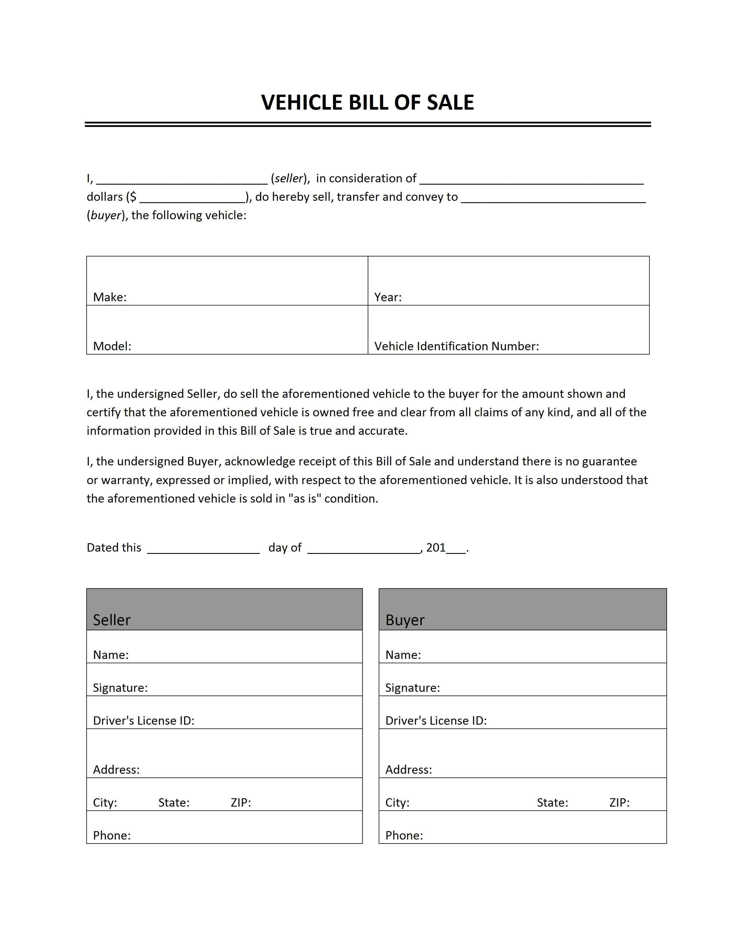 Vehicle Bill Of Sale - Free Printable Blank Auto Bill Of Sale