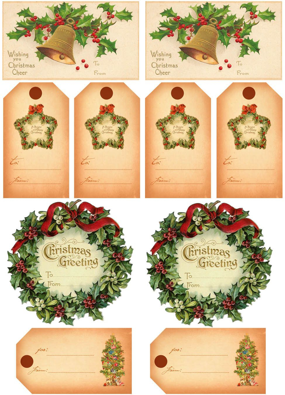 Vintage Christmas Gift Tags | Vintage Printables | Christmas Gift - Free Printable Vintage Christmas Images