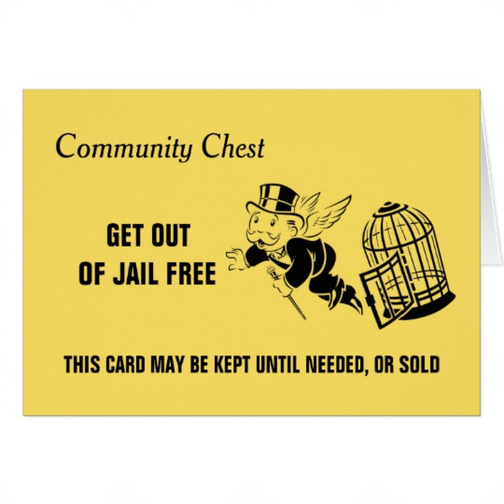 Vintage Monopoly Get Out Of Jail | Zazzle.ca Regarding Get Out Of - Get Out Of Jail Free Card Printable
