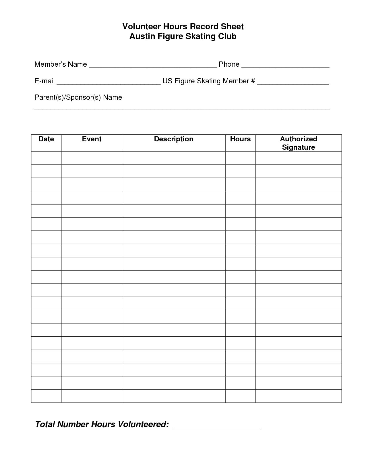 Volunteer Hours Log Sheet Template   Spreedsheets   Pinterest - Free Printable Community Service Log Sheet
