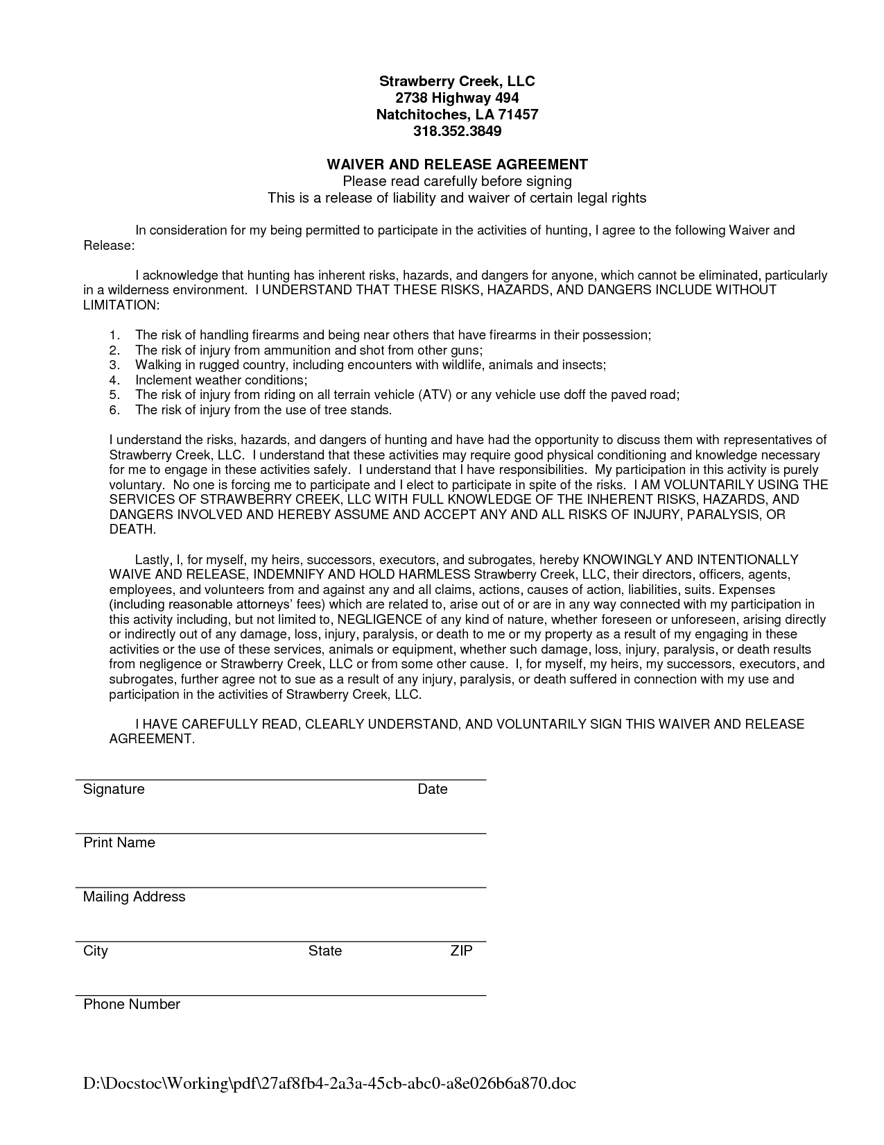 Waiver Of Liability Sample - Free Printable Documents | Waiver - Free Printable Documents