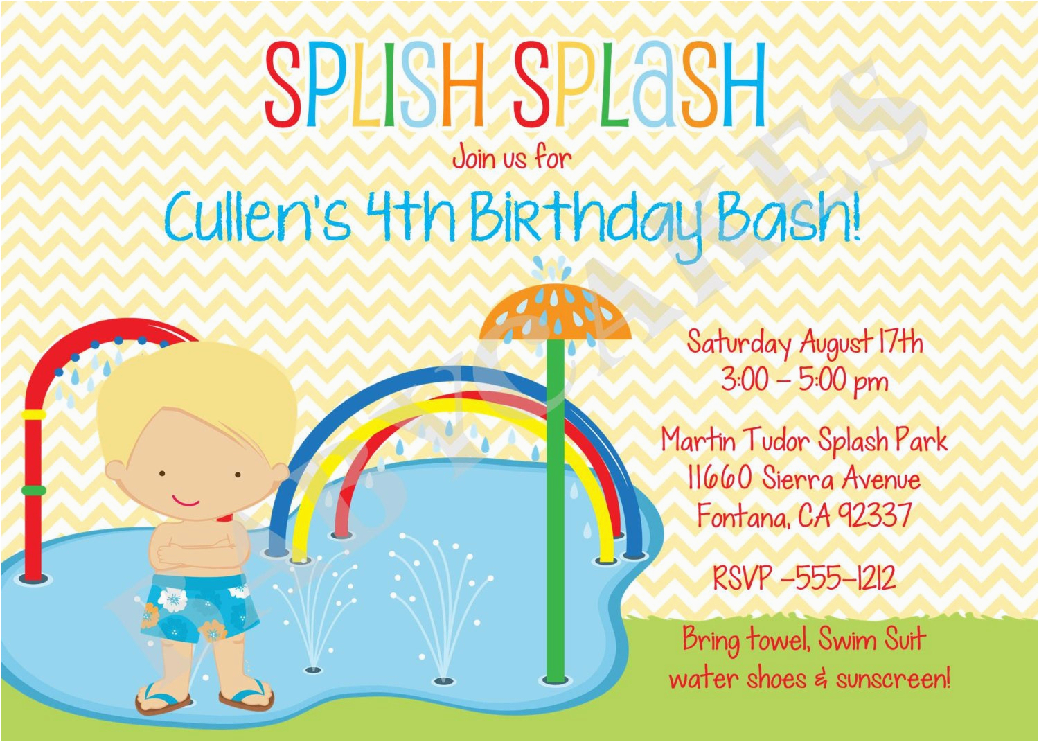 Water Park Birthday Invitations | Birthdaybuzz - Free Printable Water Park Birthday Invitations