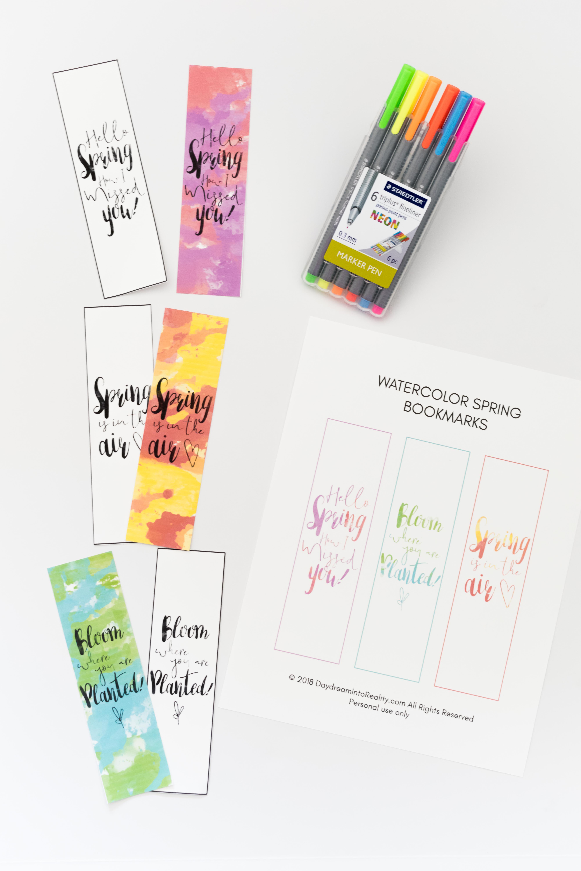 Watercolor Spring Bookmarks Free Printable ~ Daydream Into Reality - Free Printable Spring Bookmarks