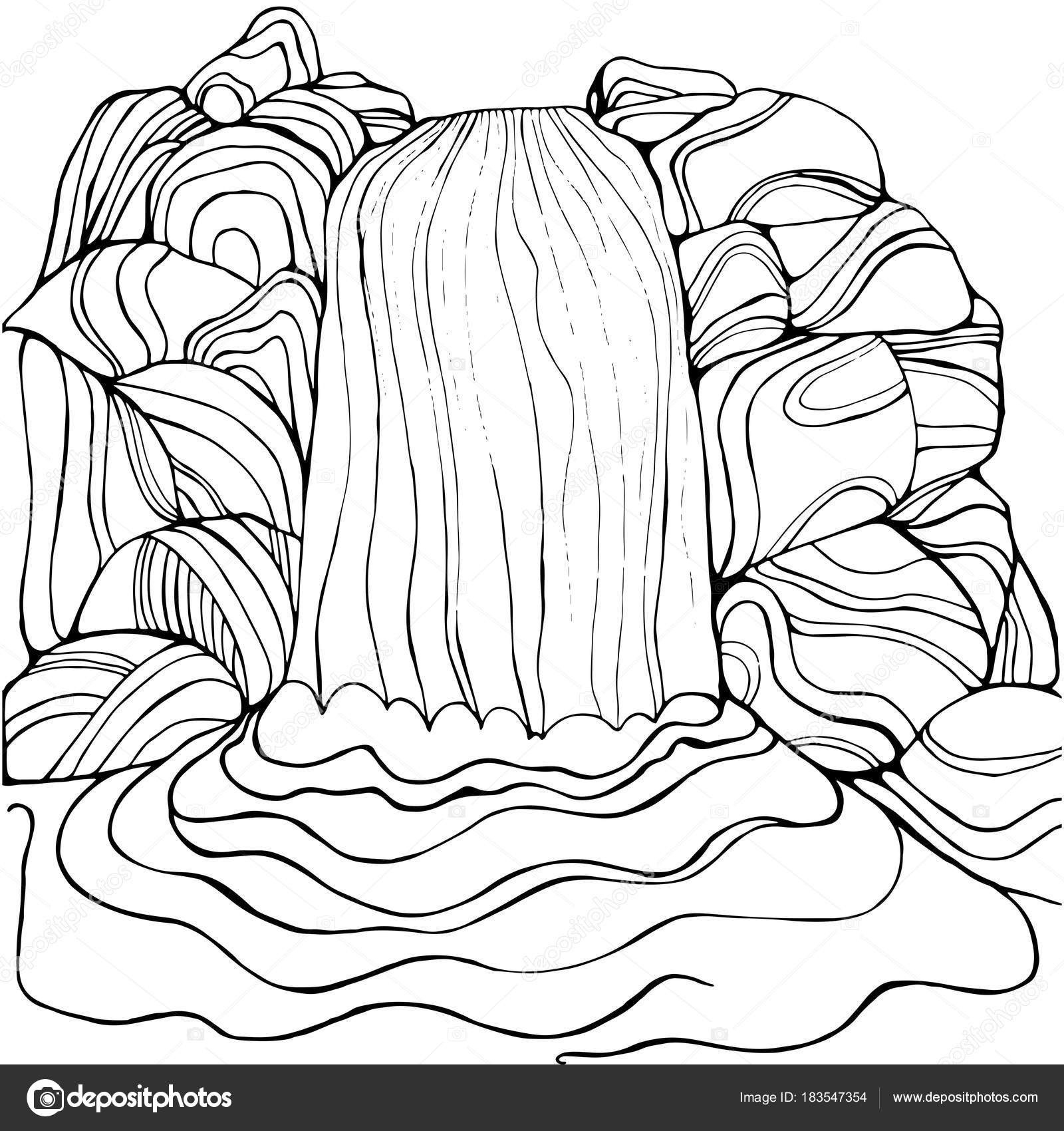 Waterfall Coloring Page For Children And Adults Stock Vector Tearing - Free Printable Waterfall Coloring Pages