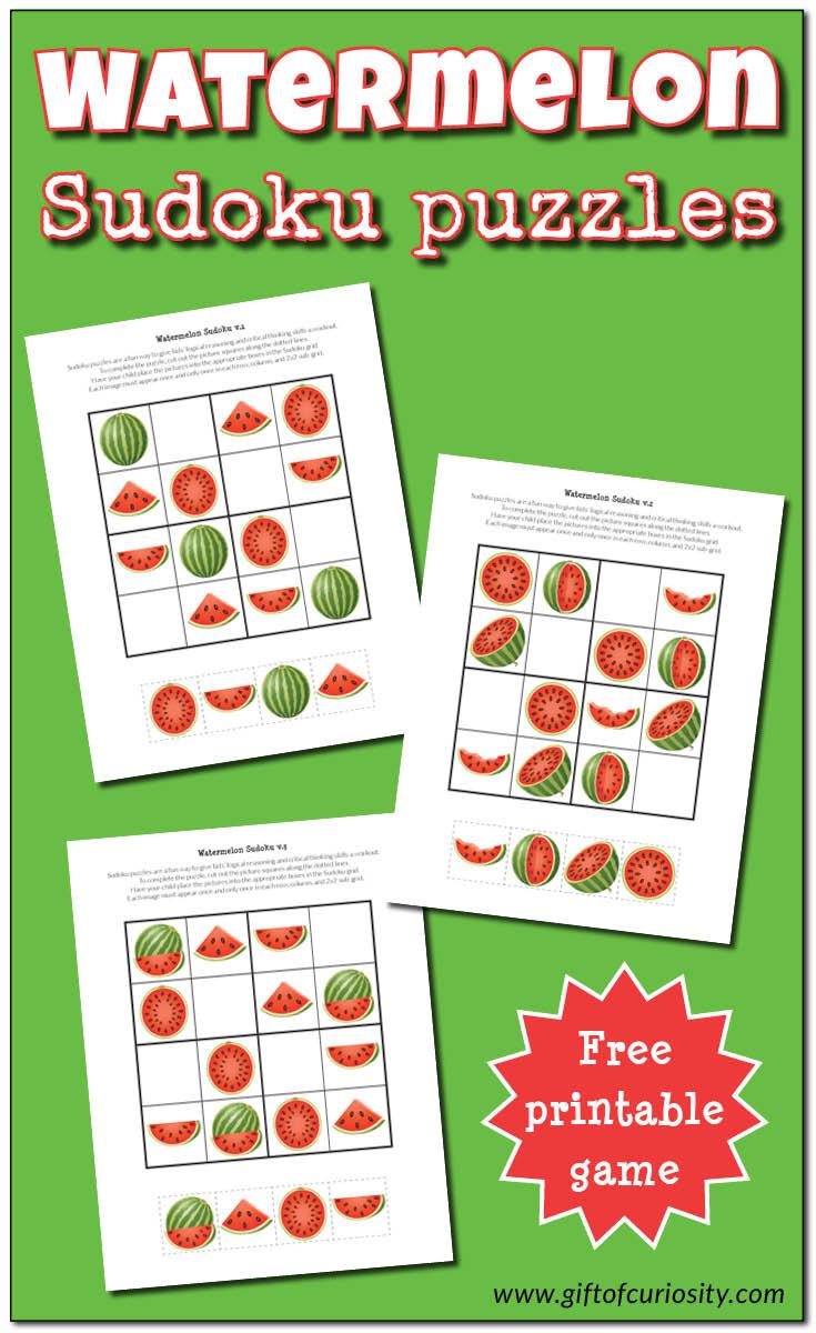Watermelon Sudoku Puzzles {Free Printables} - Gift Of Curiosity - Free Printable Sudoku Puzzles