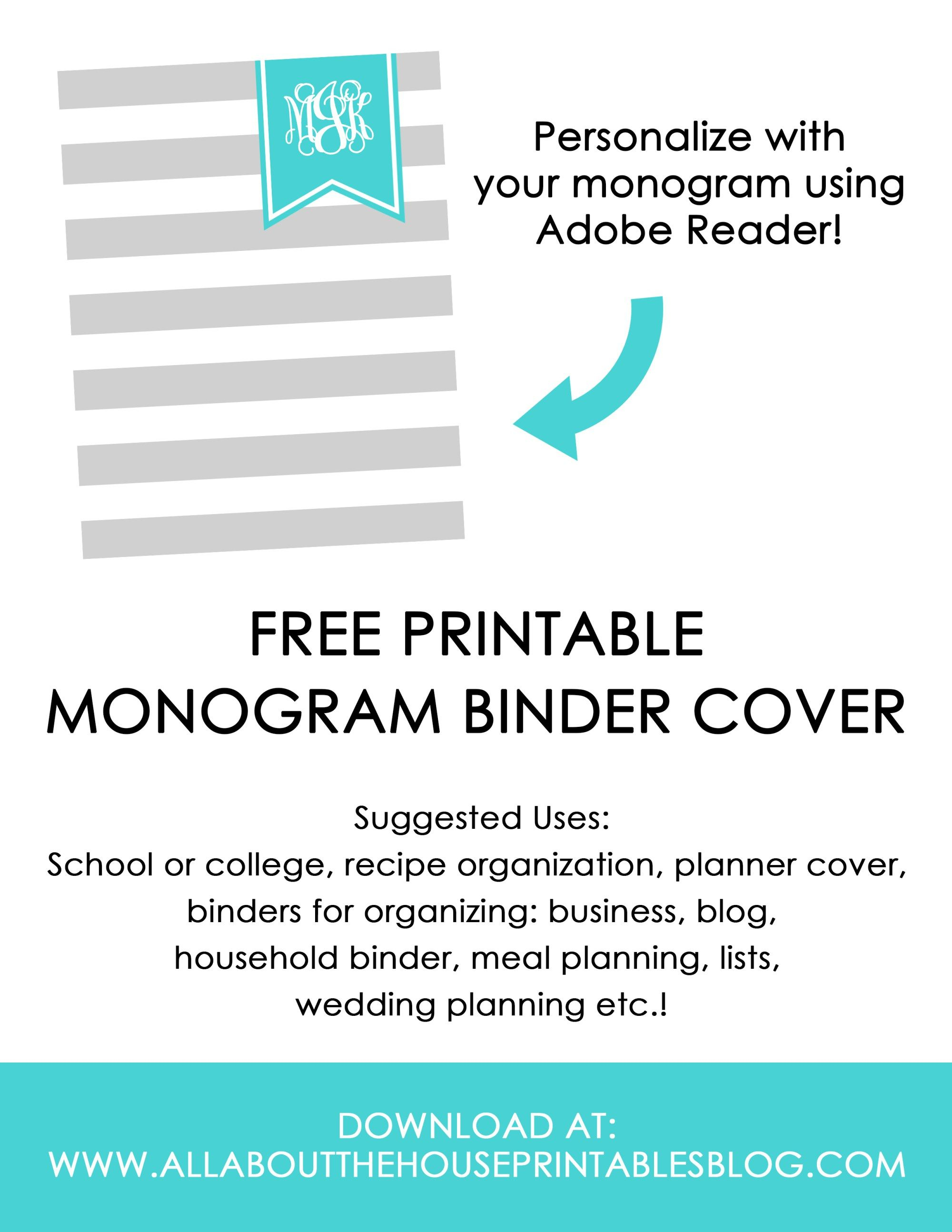 Ways To Organize Using Binder Covers (Plus A Free Printable Monogram - Free Printable Monogram Binder Covers