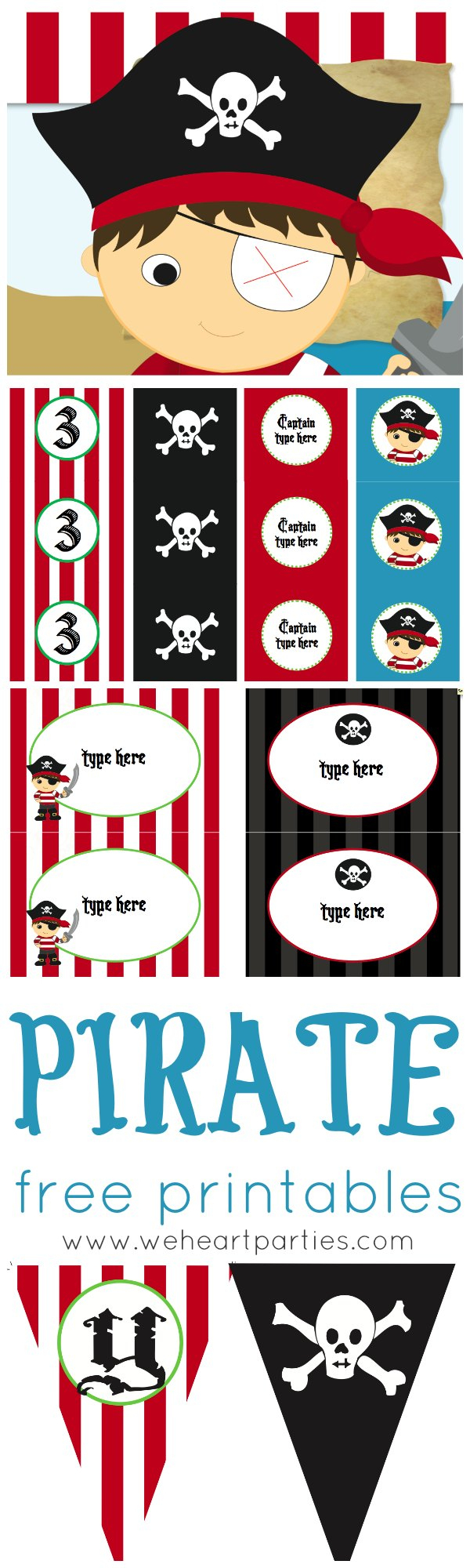 We Heart Parties: Free Printables Pirate Party Free Printables - Free Printable Pirate Cupcake Toppers