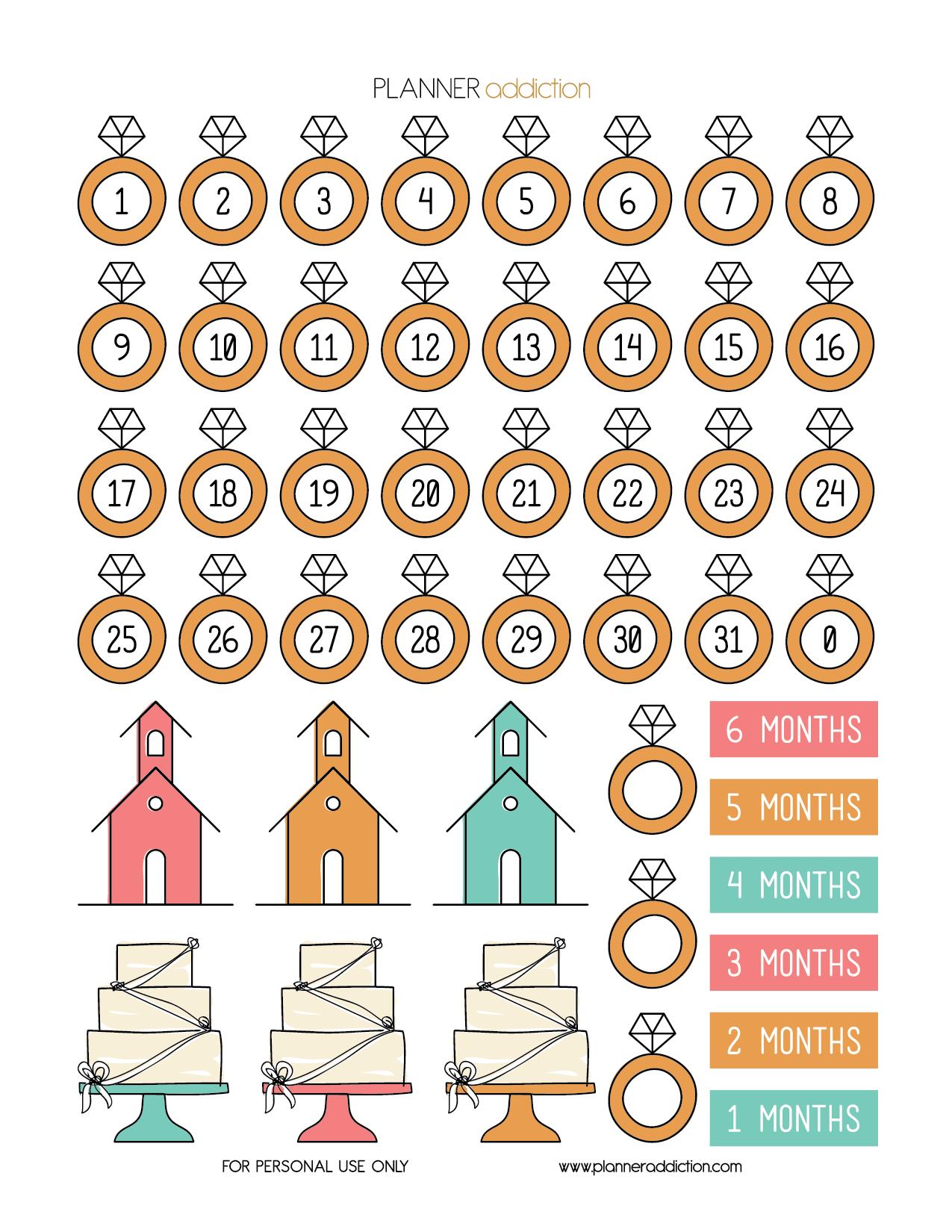 Wedding Countdown (Planner Addiction) - Free Printable Wedding Countdown