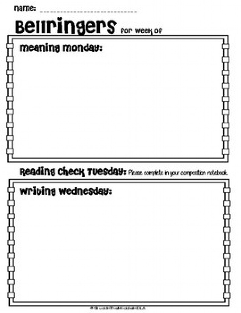Weekly Bellringer Templates Teaching Resources | Teachers Pay - Free Printable Bell Ringers