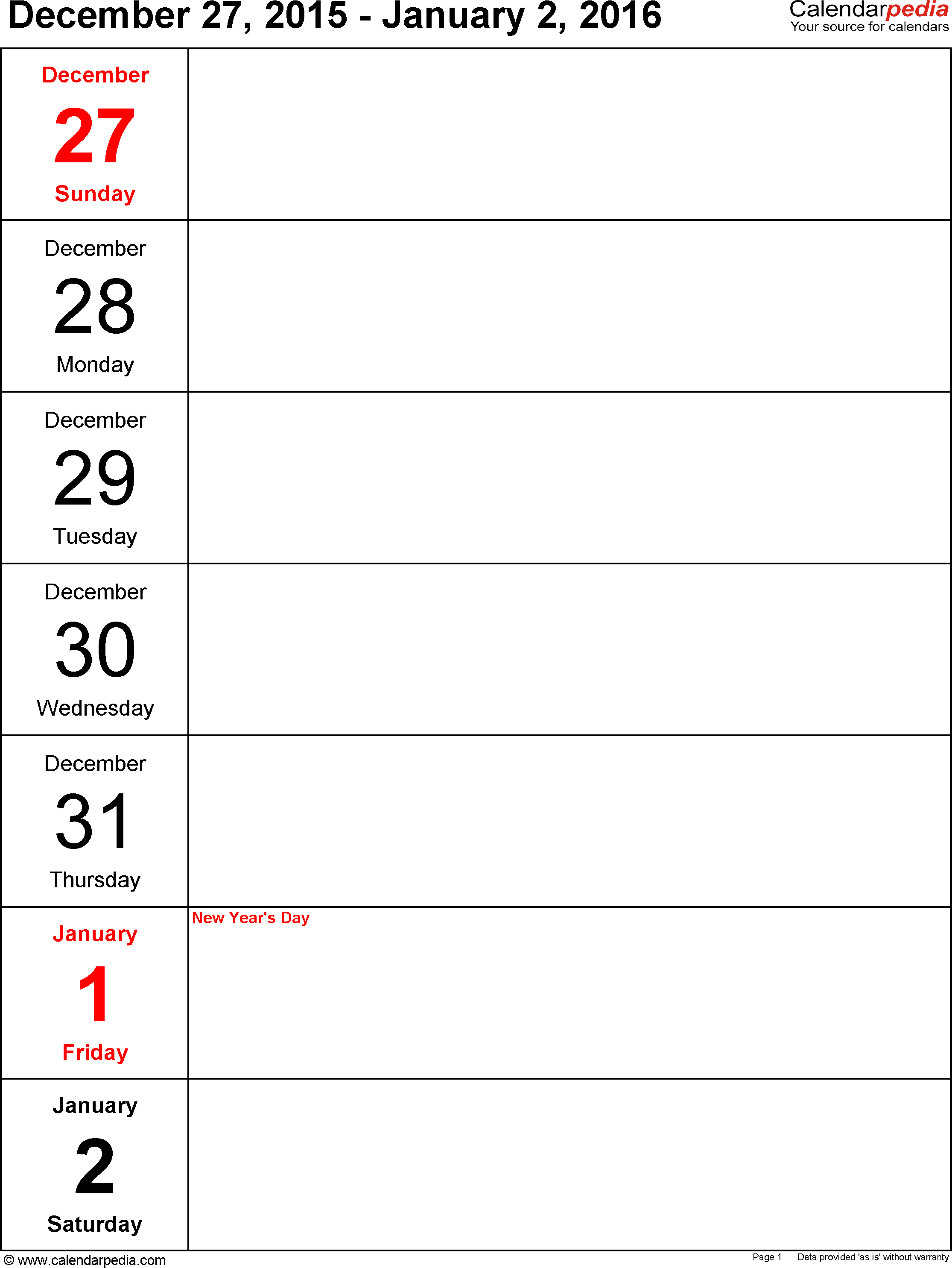 Weekly Calendar 2016 For Pdf - 12 Free Printable Templates - Free Printable Pocket Planner 2016