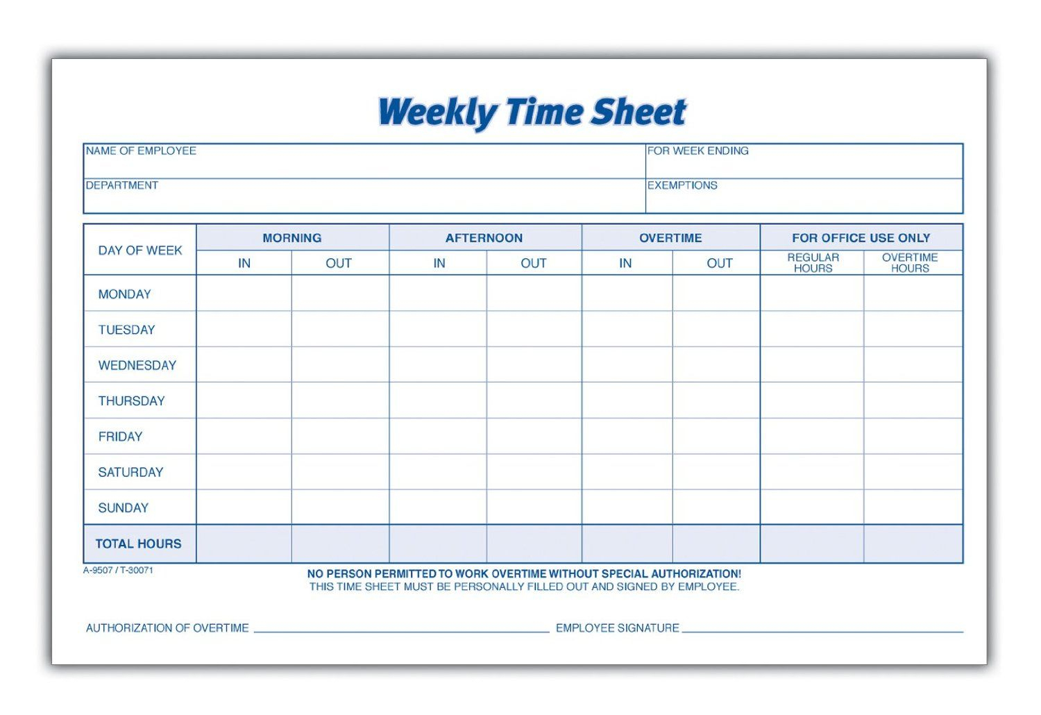 Weekly Employee Time Sheet | Good To Know | Pinterest | Timesheet - Free Printable Blank Time Sheets