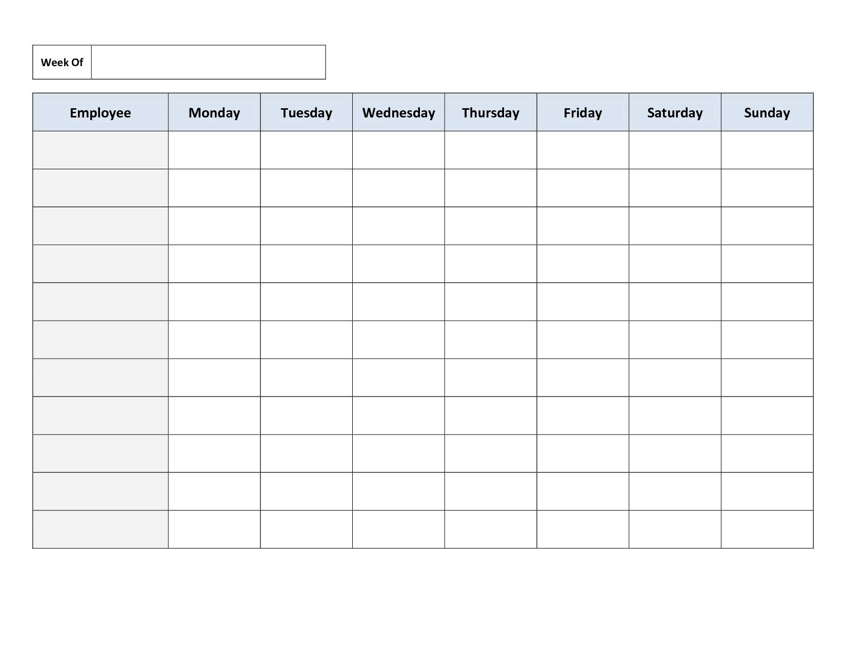 Weekly Employee Work Schedule Template. Free Blank Schedule.pdf - Free Printable Schedule